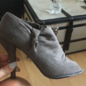 Grey peep toe booties